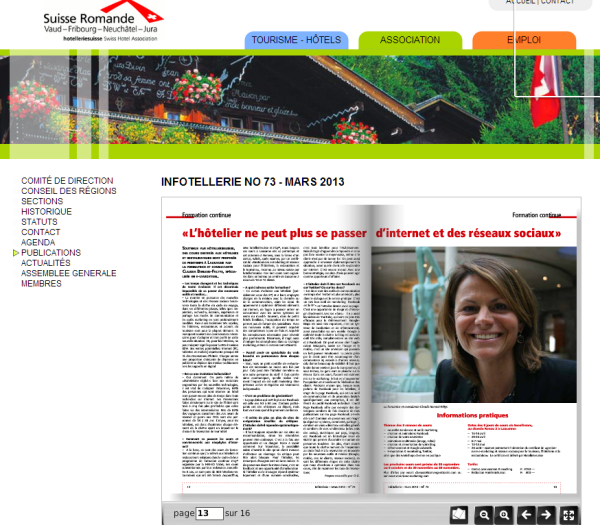 Infotellerie no 73 - mars 2013 - Publications - Association Romande des Hôteliers claudia benassi faltys