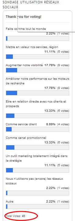 sondage utilisation réseaux sociaux hotels etourisme