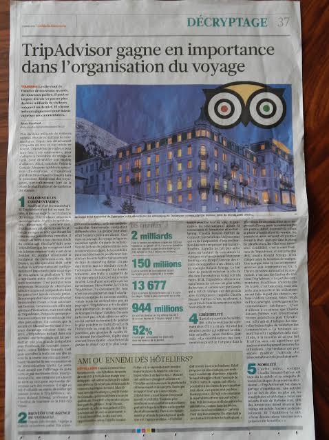 Décryptage: Tripadvisor gagne en importance dans le monde du voyage- article paru dans le Matin Dimanche