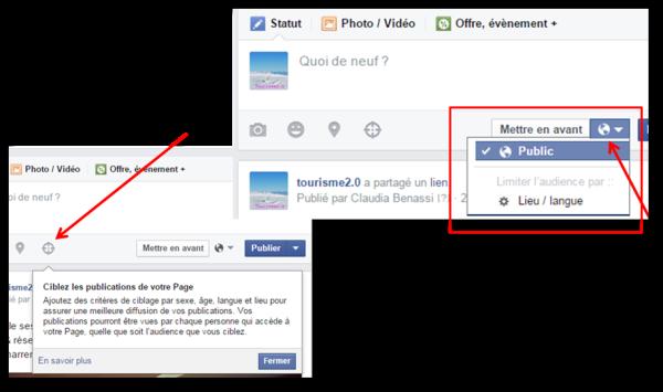 Options de ciblage publications de page Facebook